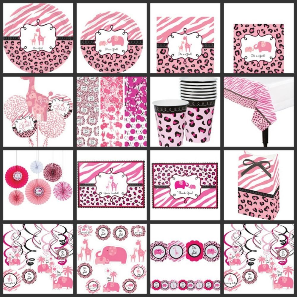 PINK SAFARI Baby Shower Baby Girl PARTY SUPPLIES Choose Your Own Set Kit  Giraffe