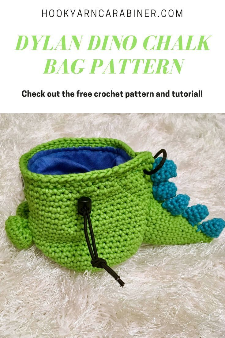 Free crochet pattern Dylan Dinosaur Chalk Bag This Dino is ready to rock Adorable and easy to crochet only single crochet needed Check out the pattern and make your own F...