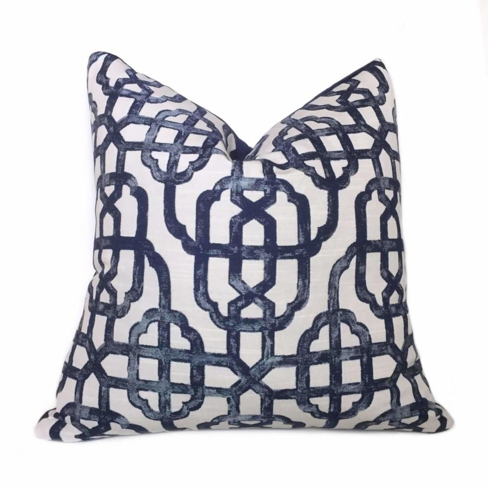 Navy Blue Off White Chinoiserie Fretwork Lattice Pillow Cover