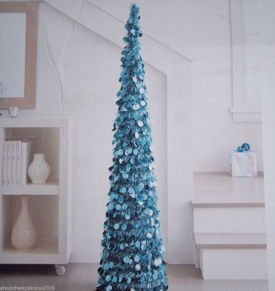 5 ft collapsible tinsel artificial christmas tree turquoise - Pop Up Christmas Tree With Lights