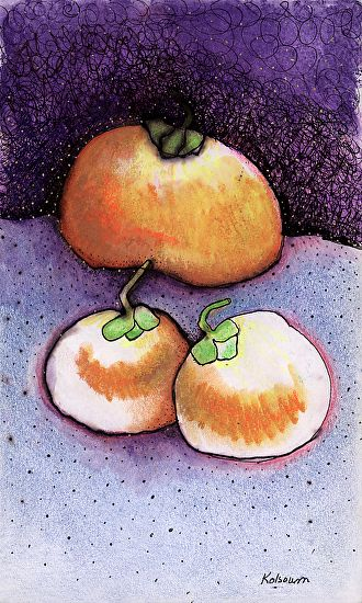 """Persimmon with_Night Sky by M. Kolsoum Ginney Oil Pastel ~ 8"""" x 5"""""""