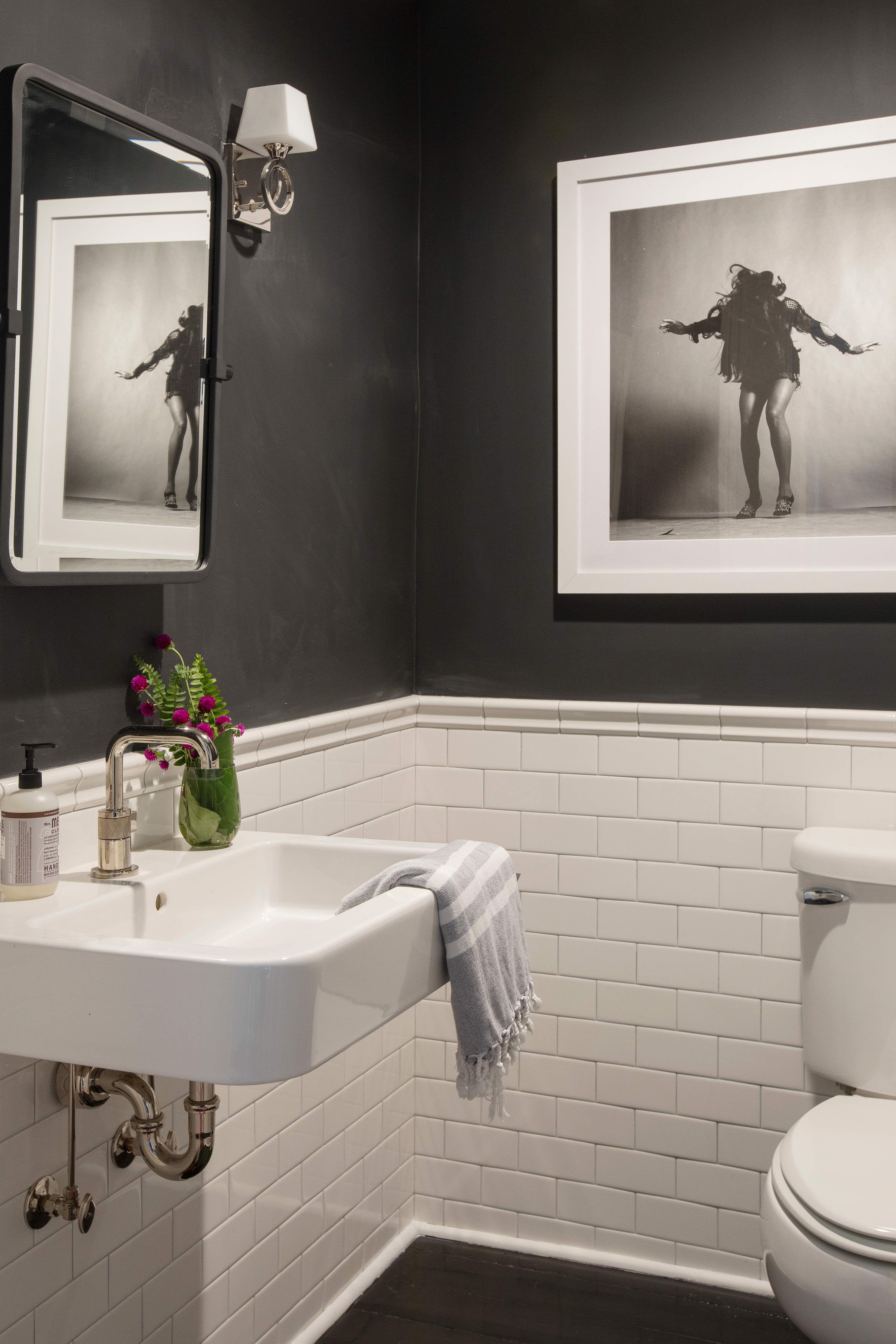 A Modern Art Filled Apartment In A Historic Row Home Bathrooms Remodel Bathroom Decor Small Farmhouse Bathroom