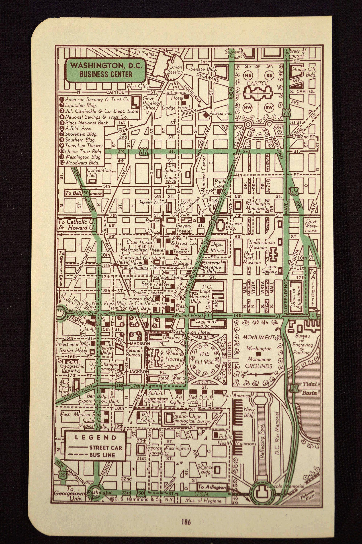 Washington DC Map of Washington D C Street Map Wall Art Decor ... on