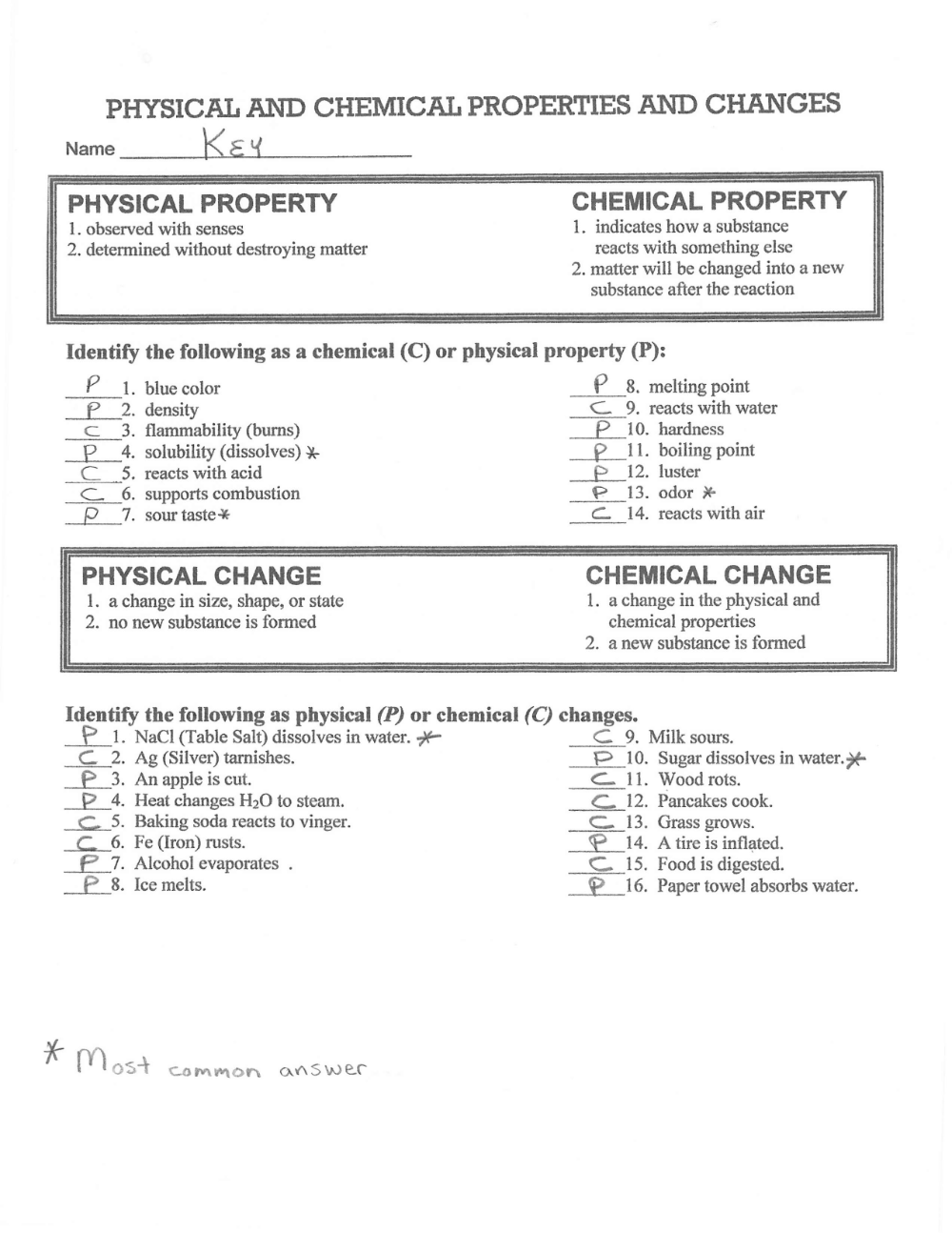physical and chemical properties and changes answer key