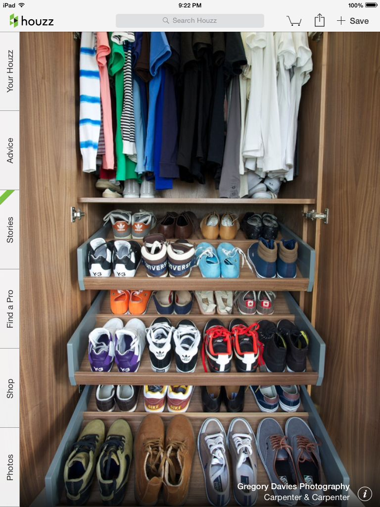 Do smaller version in Beebe front closet--except only one for shoes.