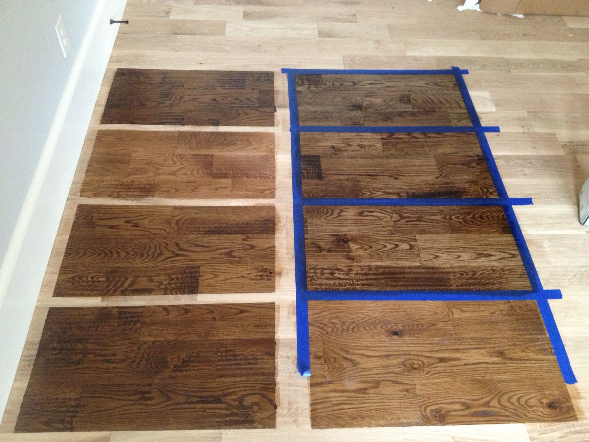 Duraseal stains on white oak: Left column from the top:  spicy brown/ nutmeg/ medium brown/ antique brown  Right column from the top:  ebony/ antique brown + ebony + coffee/ ebony+ chestnut+ coffee/ english chestnut with antique brown