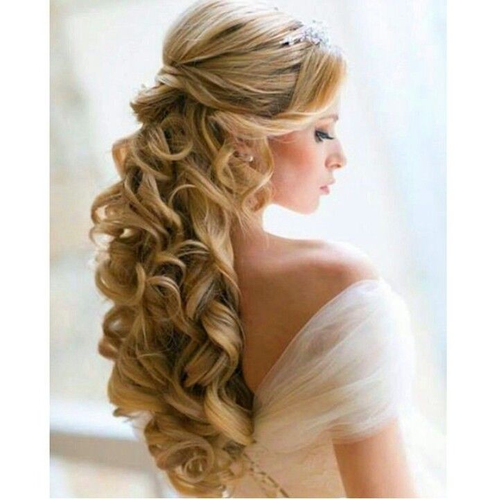 Fancy Curled Half Up Hairstyle Wedding Hair Down Gorgeous Hair