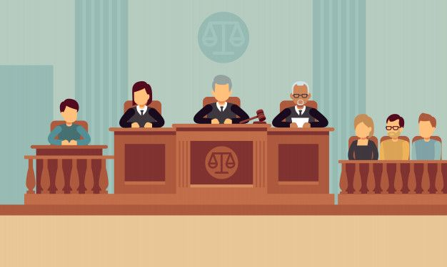 Courtroom interior with judges and lawye  Premium Vector