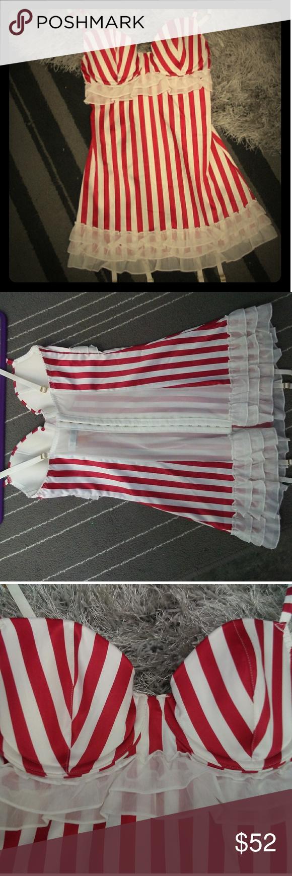 NEW Victoria's Secret Candy Striped Teddy Victoria's