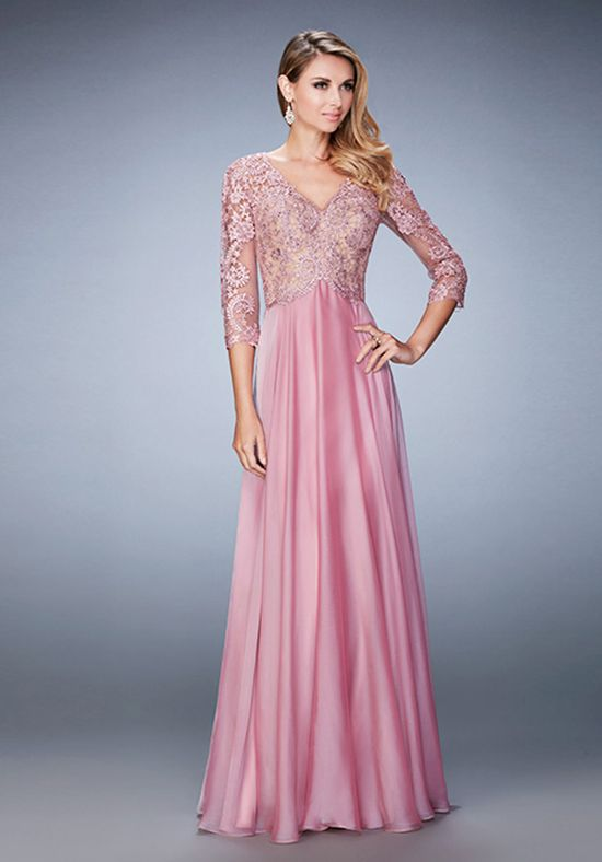 Charming chiffon evening gown with delicate lace and jewel ...
