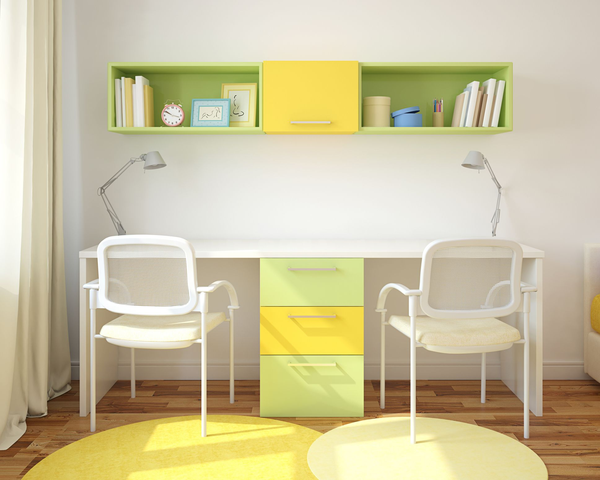 Standard Heights For A Shelf Above A Desk Hunker Shelves Above Desk Office Supplies Design Home Office Decor