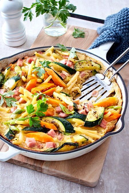 Photo of Pasta and ham pan with vegetables recipe DELICIOUS
