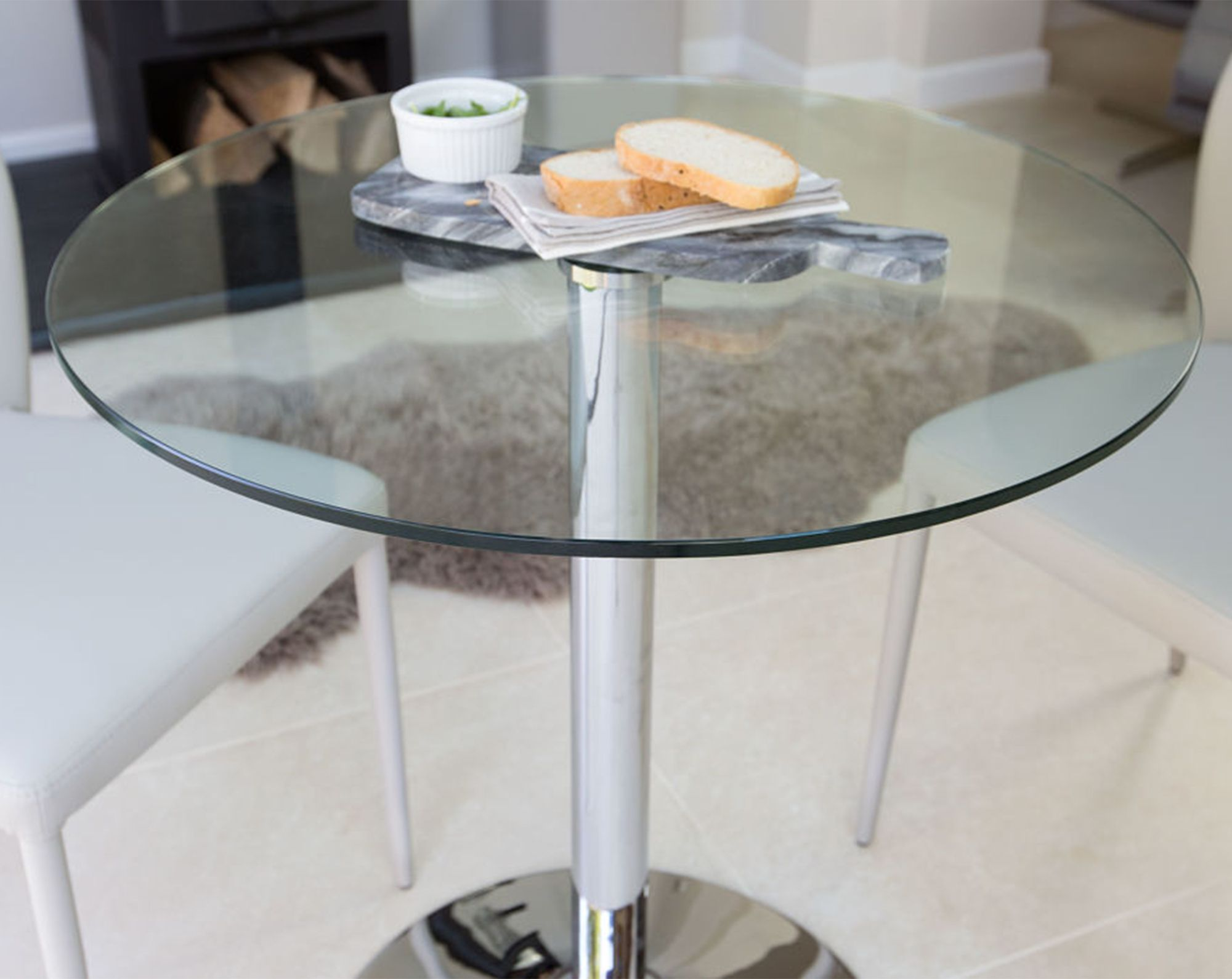 Small kitchen table and 2 chairs  Naro Round Glass  Seater Table  Round glass Pedestal and Rounding