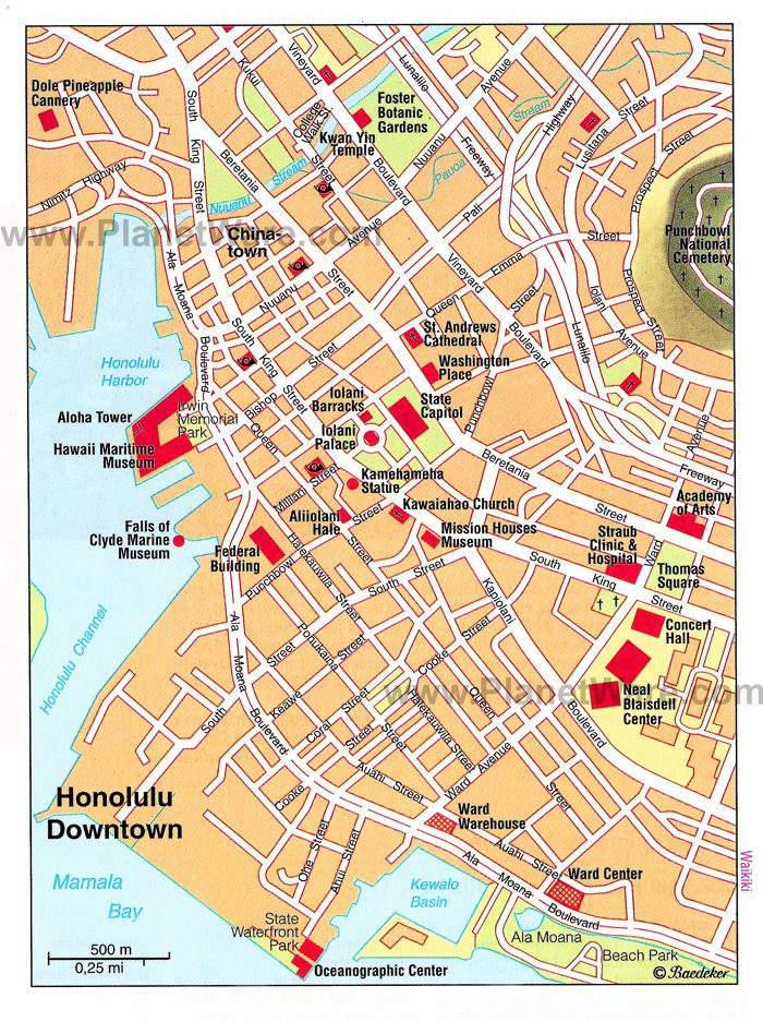 Honolulu Downtown Map Tourist Attractions Italian Everything