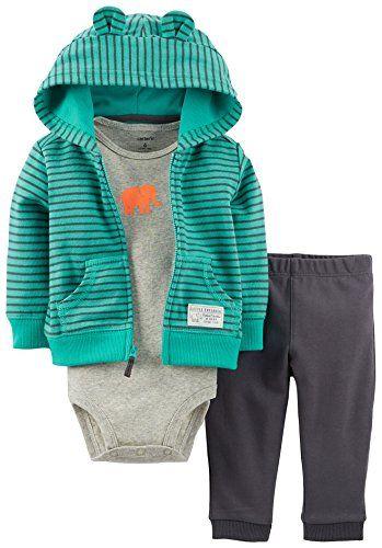 c0f308ded Carters Baby Boys Elephant Hoodie Bodysuit Set Greygreen 9 months ...