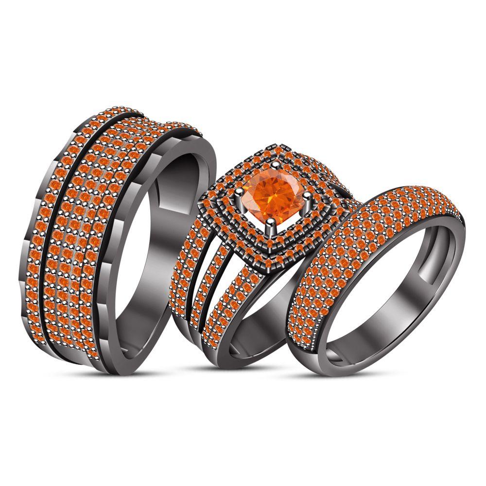 Engagement ring wedding band trio set orange sapphire