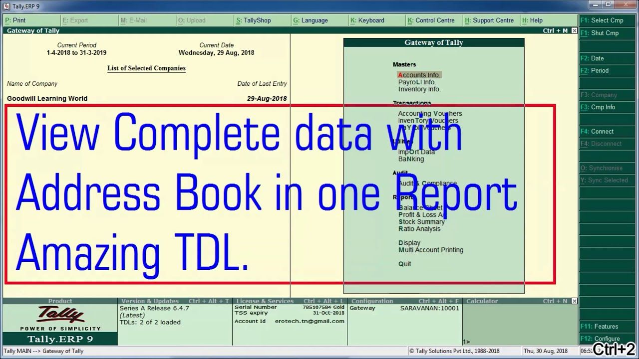 Tally TDL for Address book with GST Number, Contact Details, Price