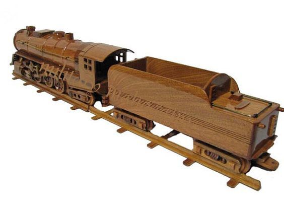 Wooden Rail Cars ~ Hudson train locomotive steam engine coal car by