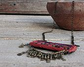 The magnificent necklace rectangular medallion pendant handmade embroidery Charm Bedouins