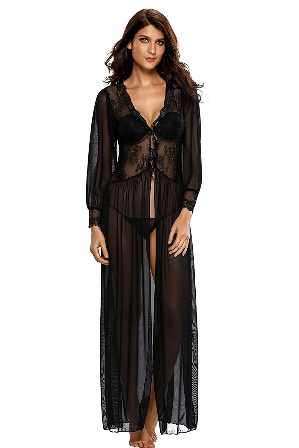 Womens Sexy Sheer Long Sleeve Gown Dress Lace Robe Lingerie Set With ... a80dc98bc7