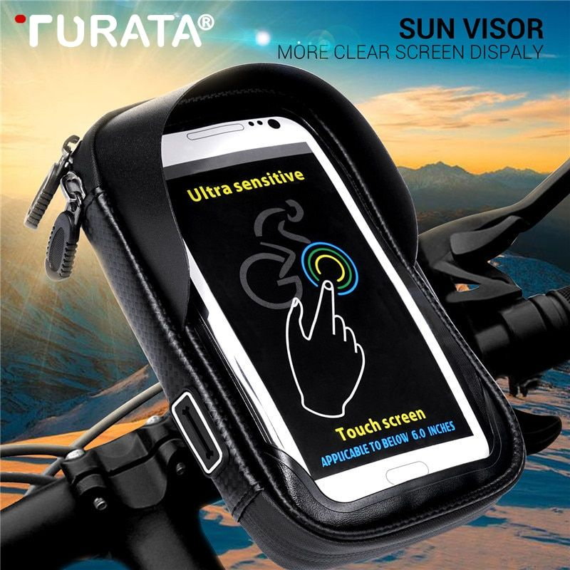 Turata 6 0 Inch Waterproof Bike Bicycle Mobile Phone Holder Stand Motorcycle Handlebar Mount Bag For Iph Waterproof Phone T Mobile Phones Waterproof Phone Case