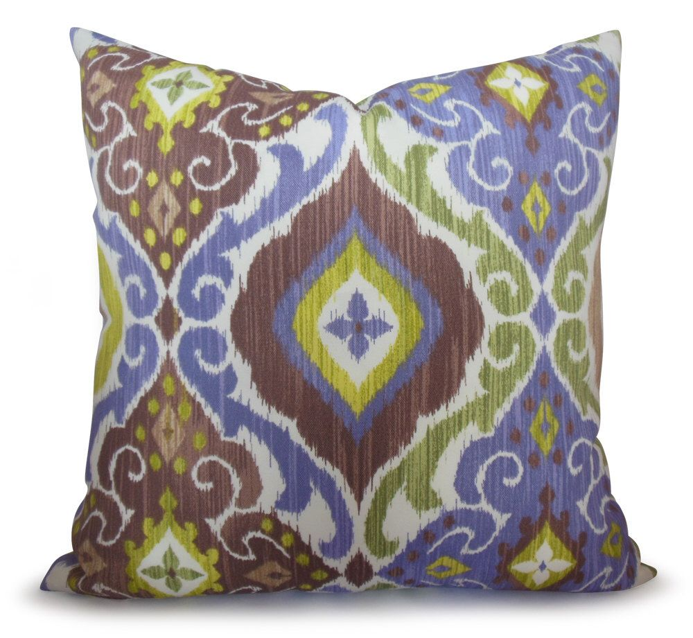 Ikat Indoor/Outdoor Pillow Cover in Purple, Chartreuse Green and ...