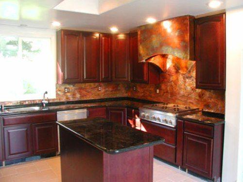 Copper Backsplash With Dark Cabinets