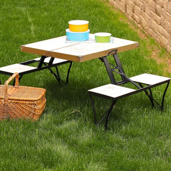 Vintage Portable Collapsible Picnic Table By TheNelleHouse On Etsy, $108.00