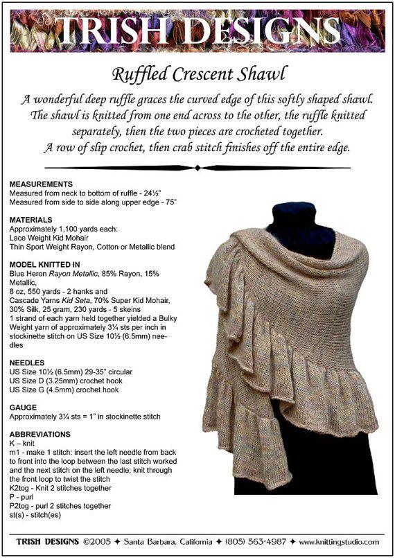 Knitting Pattern, Ruffled Crescent Shawl Knitting Pattern PDF ...