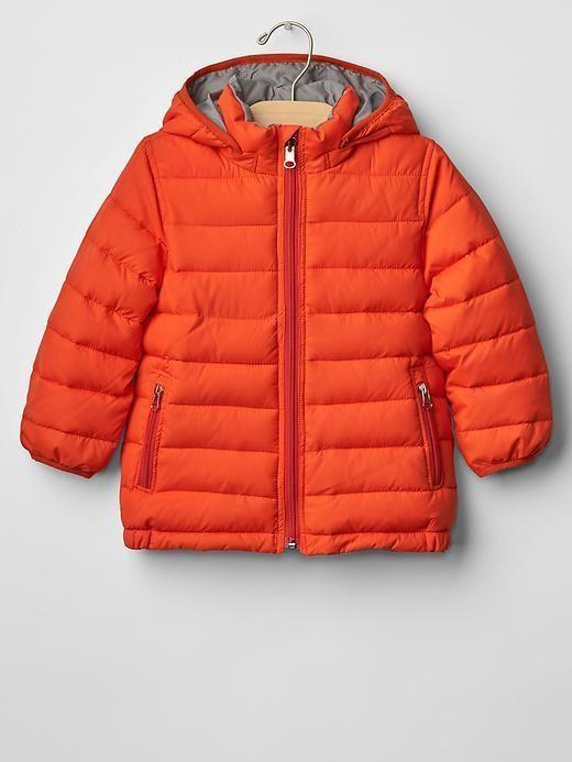 Boy Puffer Winter Jacket Hood Orange Gray Camo Zipper GAP Warmest ...