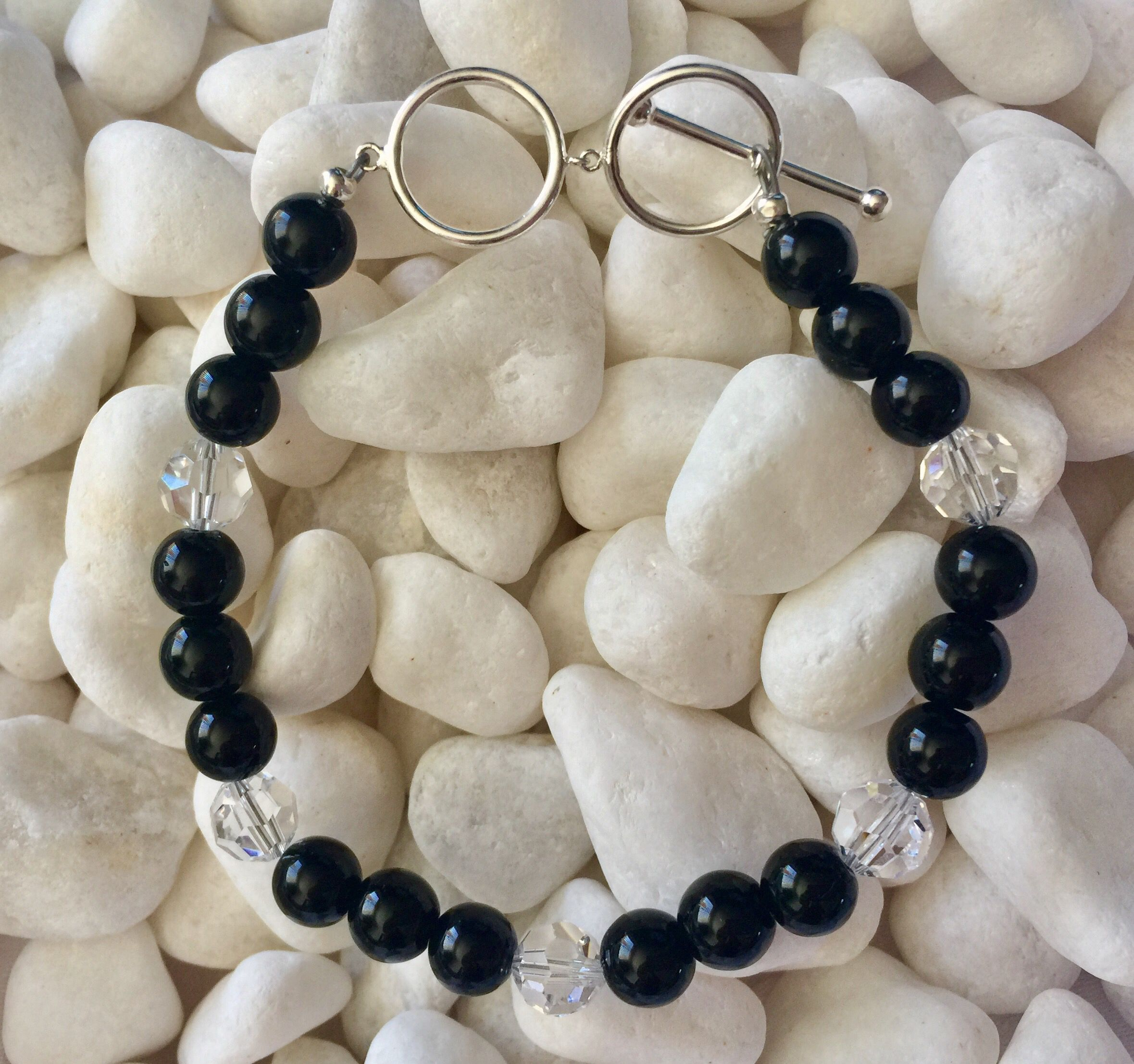 Best Bracelet Black Onyx With Crystals Toggle Clasp Sterling 400 x 300