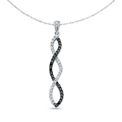 Zales 1/4 CT. T.w. Enhanced Black and White Diamond Twine Earrings in 10K White Gold qpHvLx
