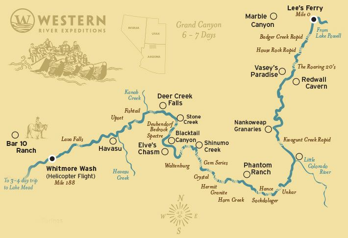 Colorado River Map of Grand Canyon  Lees Ferry to Lava Falls