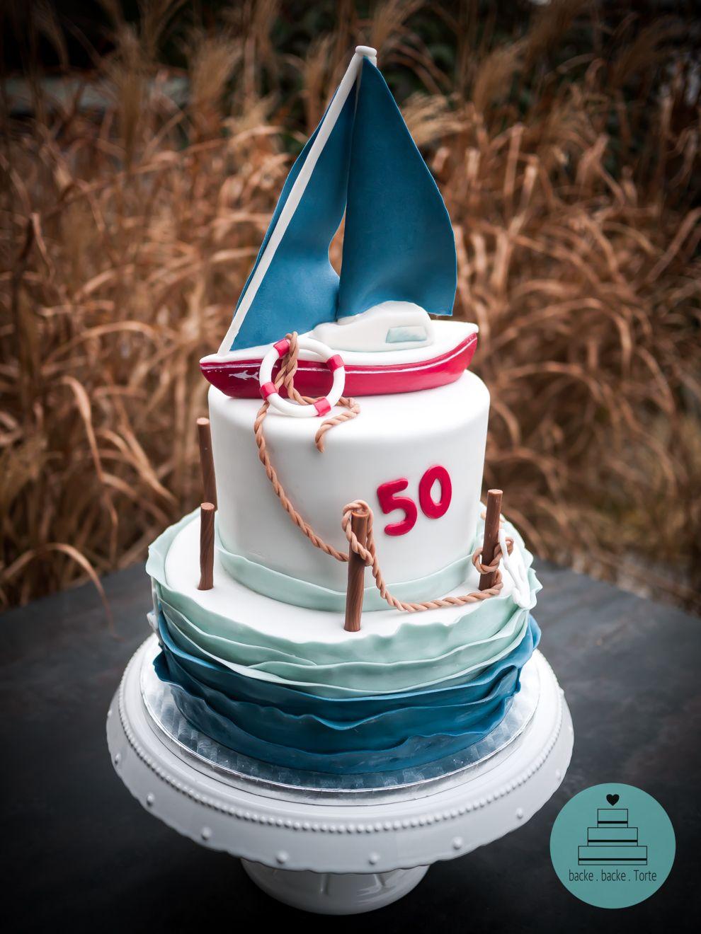 Motivtorte Zum 50er Segelboottorte Geburtstagstorte