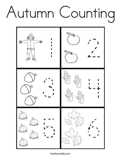 Autumn Counting Coloring Page - Twisty Noodle | Autumn ...