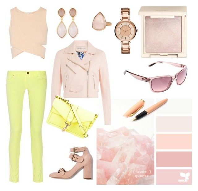 """Rose Quartz and Yellow"" by anatoraya ❤ liked on Polyvore featuring SonyaRenée, Jouer, Dina Mackney, Armani Exchange, M Missoni, Jonathan Simkhai, Emilio Pucci, Fountain, Oakley and Rebecca Minkoff"