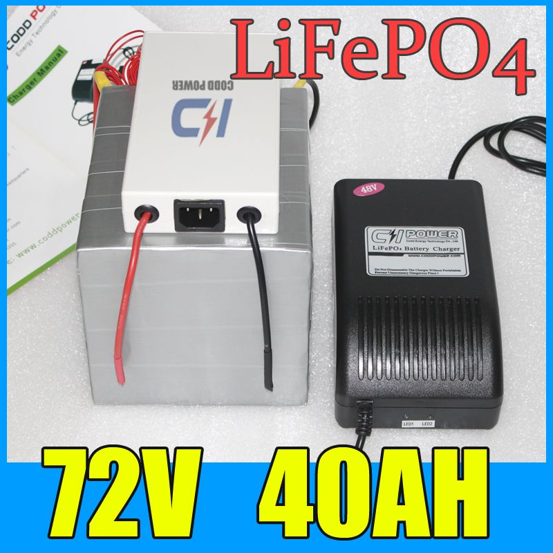 72V 40AH LiFePO4 Battery Pack ,3000W Electric bicycle Scooter ...