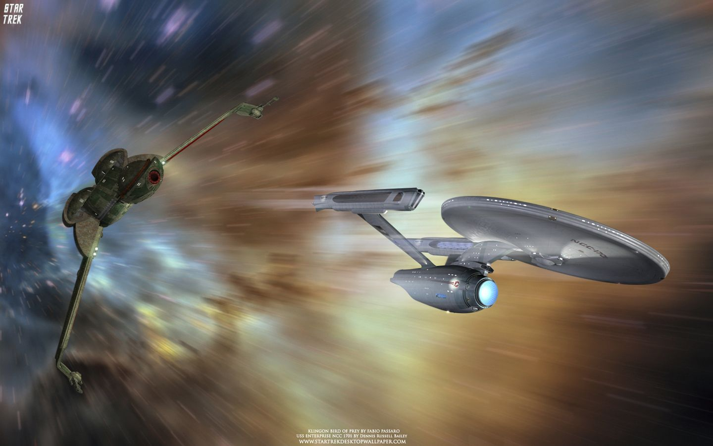 Star Trek Bird Of Prey Chasing Uss Enterprise Ncc 1701 A Free