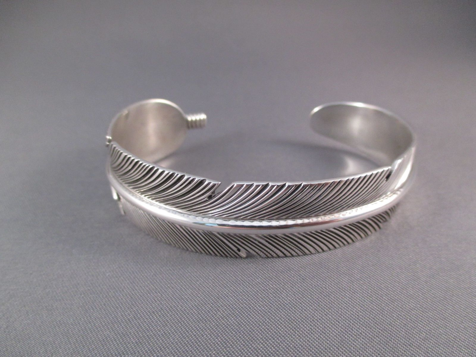 Joe Sterling Silver Feather Cuff Bracelet By Native American Navajo Indian Jewelry Artist