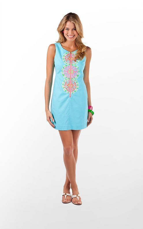b569630717a1d7 Lilly Pulitzer Kolby Dress in Shorely Blue Bloomin' Garden Embroidery $248  (w/o 5/27/12) #lillypulitzer #fashion #style