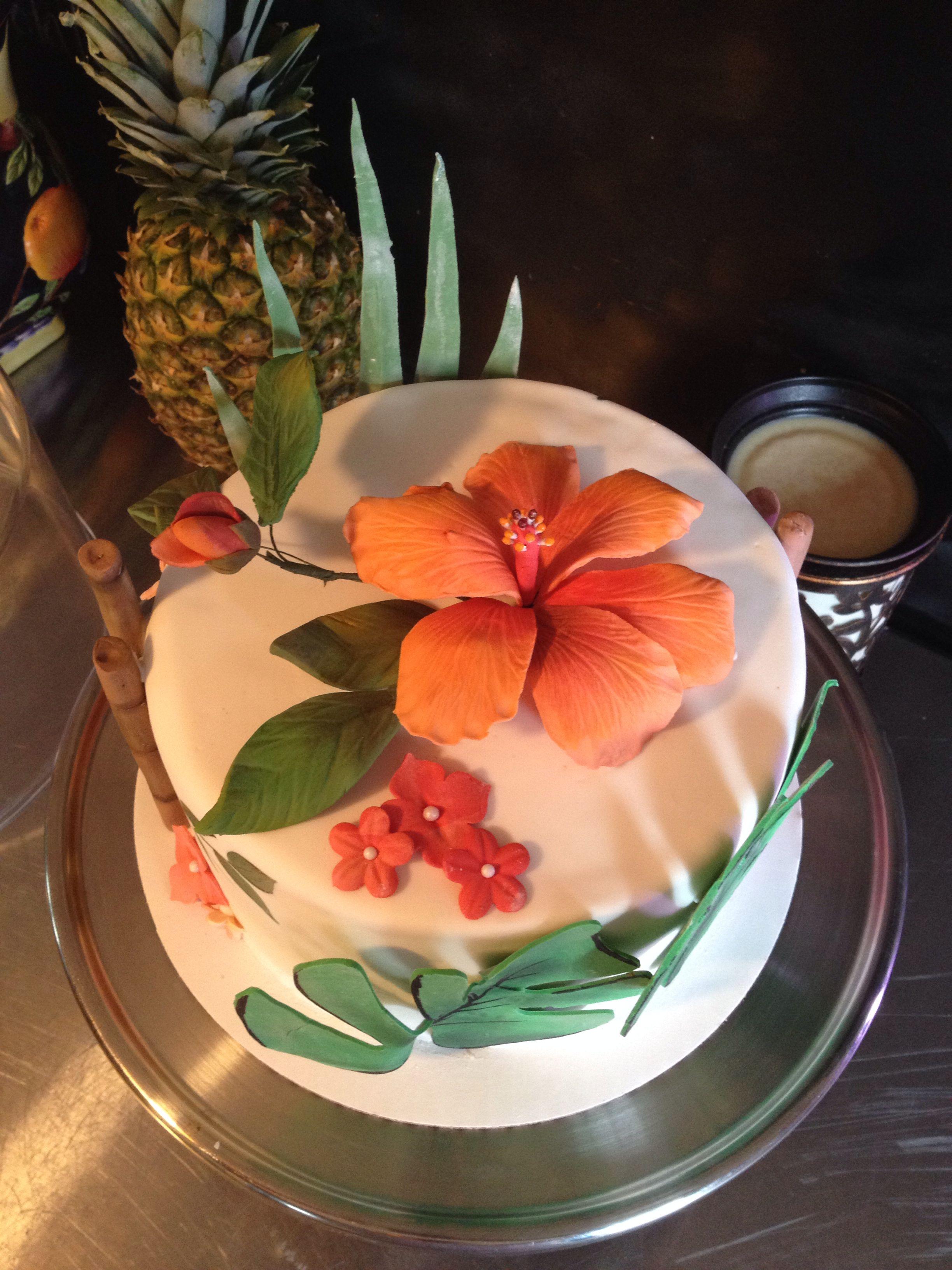 Hibiscus Flower Tropical Cake Cake Desserts Food