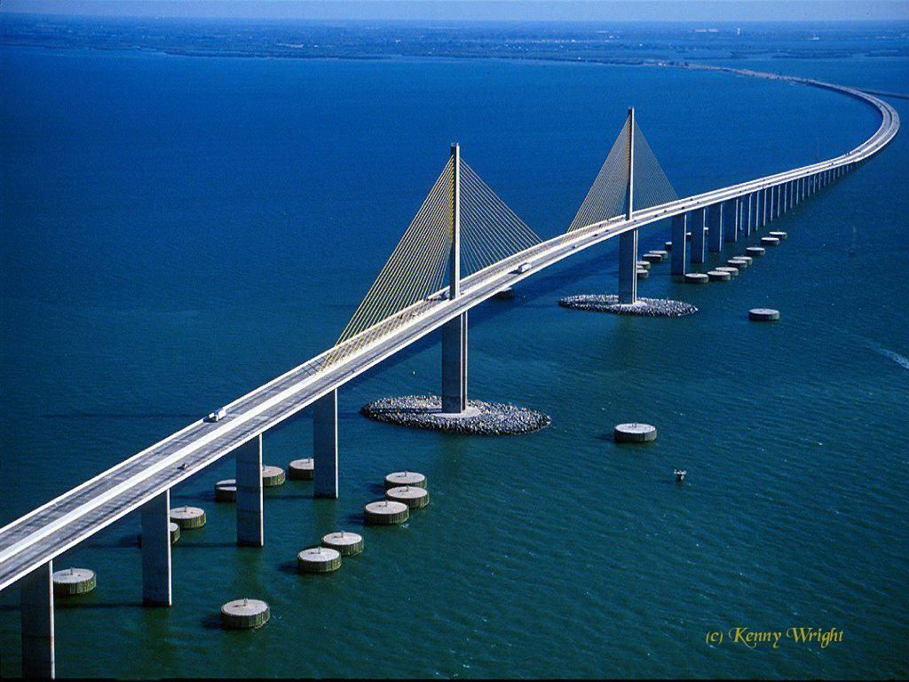 Sunshine Skyline Bridge, Tampa/St. Petersburg, FL. The first time I drove across this was in 1975. Fantastic bridge, and dolphins and pelicans, too! My first time seeing them in the wild. Wow. <3