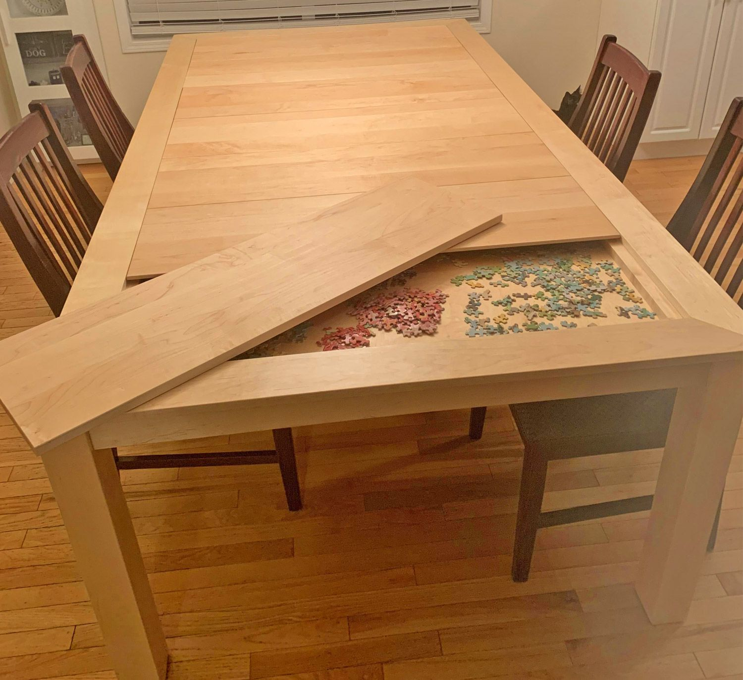 This Amazing Dining Table Has A Hidden Game Puzzle Compartment Under The Surface In 2020 Dining Table Furniture Fix Table