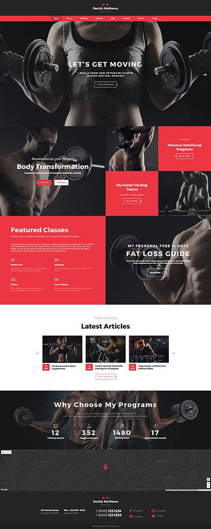 derick mathews personal trainer multipage website template