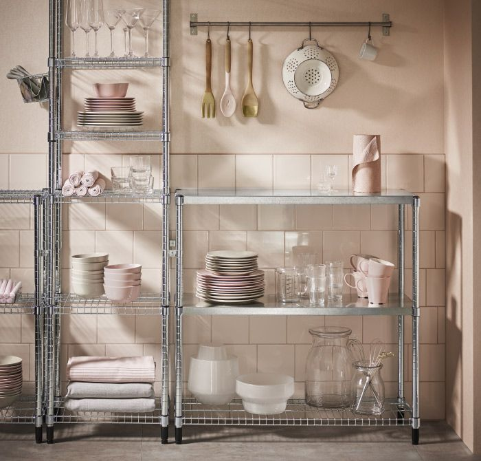 Shelving Units In Galvanized Steel With Covers For Wire Shelves To