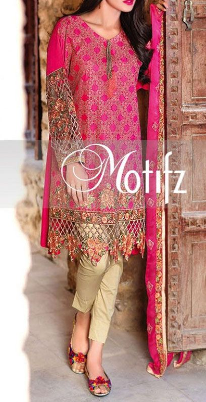 Buy Deep Pink Embroidered Cotton Lawn Dress by Motifz 2016 www.pakrobe.com Call:(702) 751-3523 Email: Info@PakRobe.com www.pakrobe.com/... #DESIGNER #LAWN #DRESSES