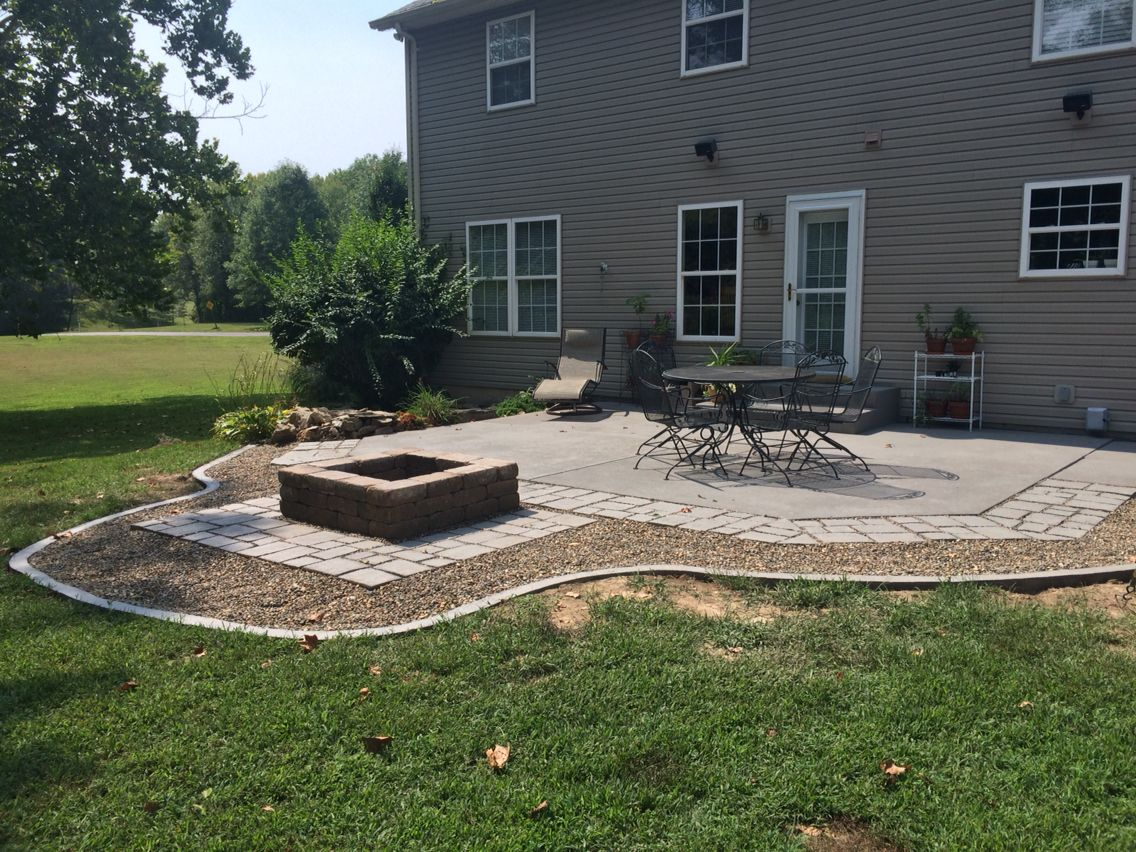 Etched and stained back porch slab, custom form