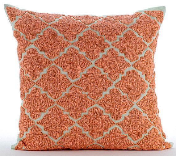 Designer Orange Pillow Cushion 16x16 Cotton Linen Etsy Orange Throw Pillows Linen Throw Pillow Handmade Decorative Pillow