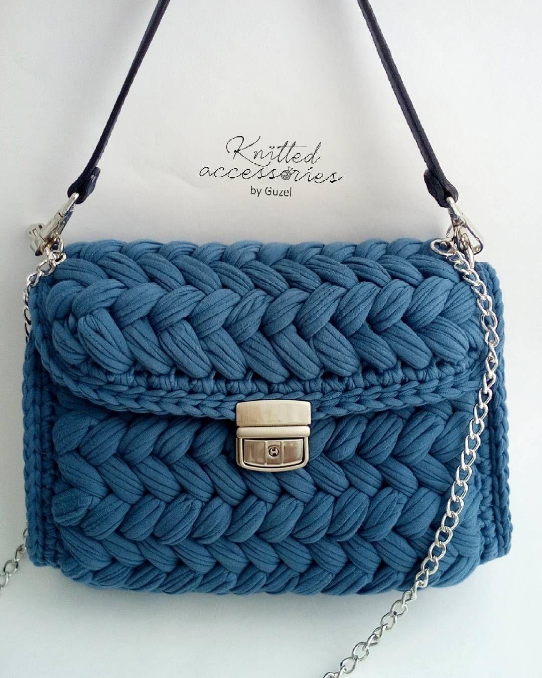 сумка зефиркав красивом цвете дымчато синий от At Knitkaknit на