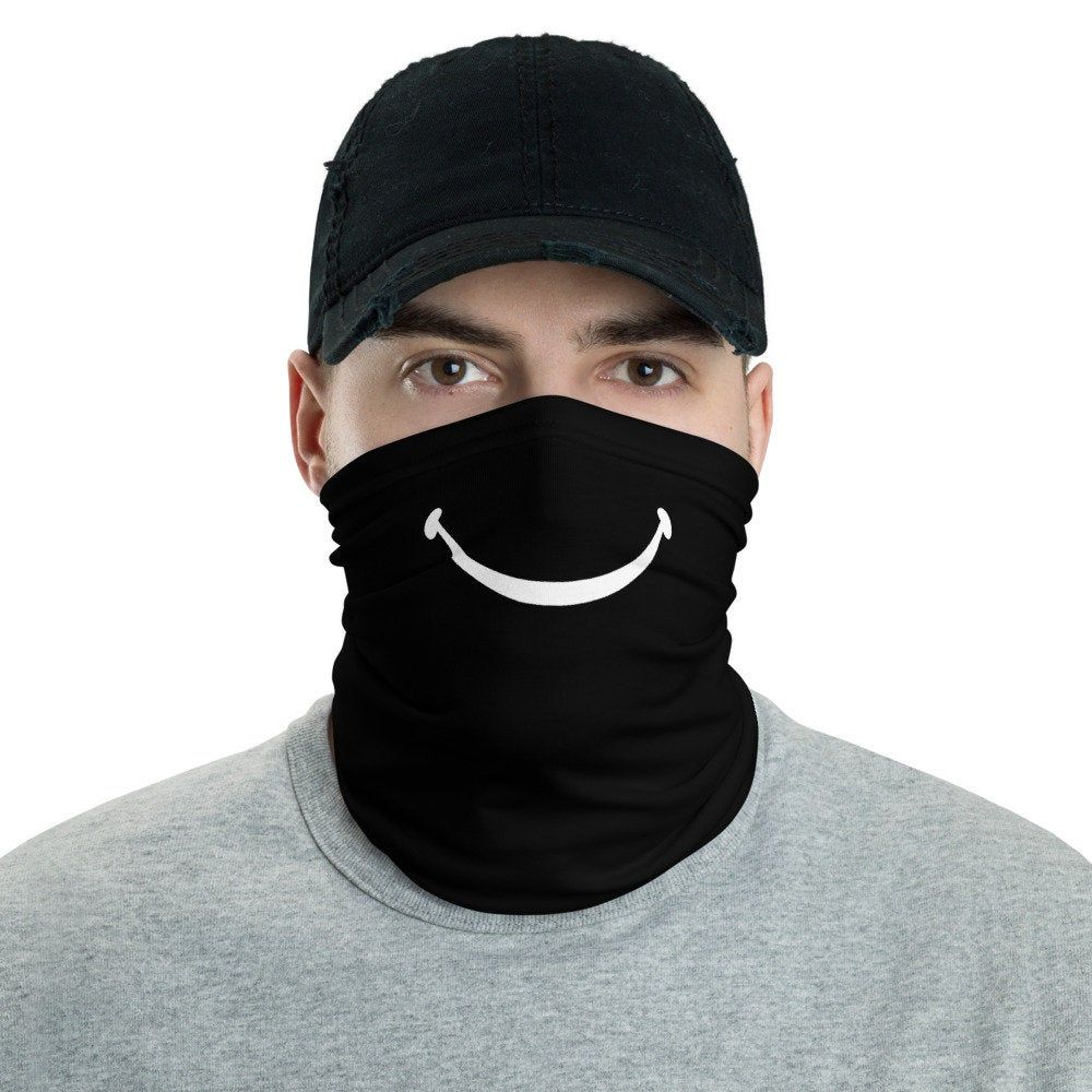 Face Mask Neck Gaiter - Black with Happy Smile for Men & for Women -  Bandana Mouth Mask, Buff, Face Shield, Headband, Hair Scarf, Head Scarf | Neck  gaiter, Women's bandanas, Women's neck gaiters
